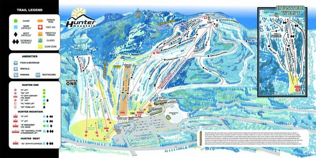 Esqui ou snowboard em Nova York - mapa das trilhas de esqui