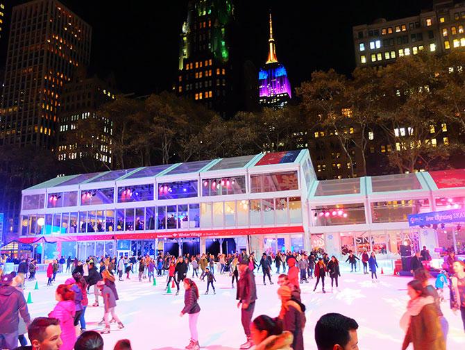 Clima de Natal em Nova York - Patinar em Bryant Park