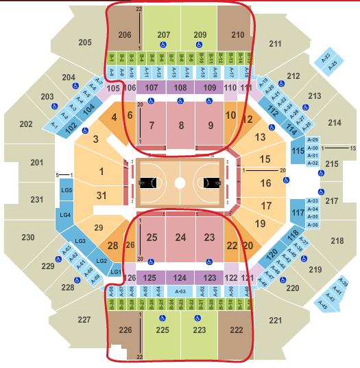 Ingressos para o Brooklyn Nets - Mapa de assentos do Barclays Center