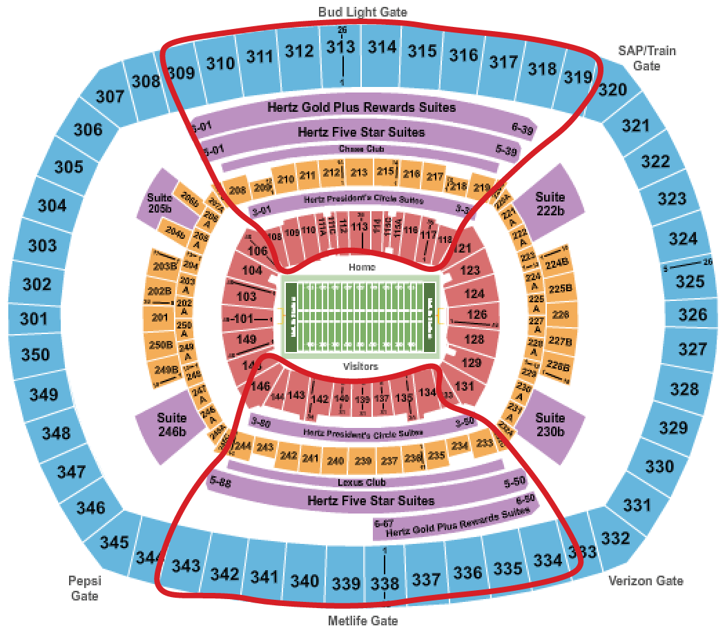 Ingressos para o New York Giants - Mapa de assentos do Metlife