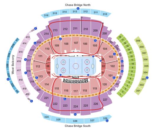 Ingressos para o New York Rangers - Mapa de assentos do Madison Square Garden