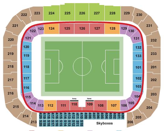 Ingressos para o New York Red Bulls - Mapa de assentos da Red Bull Arena