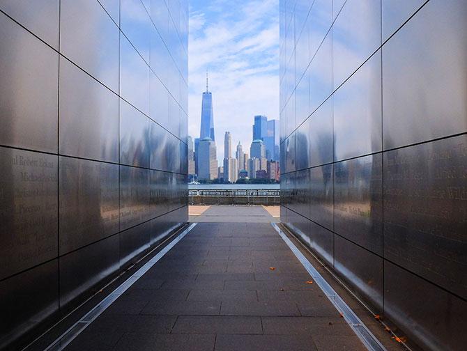 Empty Sky Memorial em Nova Jersey - Vista da linha do horizonte